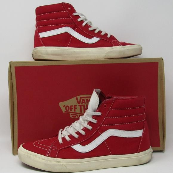 1328aed6fff54d Vans Sk8 Hi Reissue Size 9.5 Red White Canvas. M 5b4d51de035cf13cc0285ca9